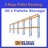 5 BAYS - 2438mm HIGH FRAME  PALLET RACKING - WAREHOUSE SHELVING