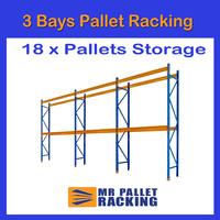 3 BAYS - 3660mm HIGH FRAME  PALLET RACKING - WAREHOUSE SHELVING