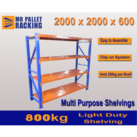 LDS- ADD-ON BAY 2000(h) X 2000(w) X 600(d)mm  LONG SPAN RACKING/LIGHT DUTY SHELVING 4 LEVELS